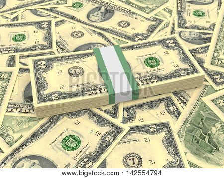Bundle Of Two Dollars Bank Notes On The Background.