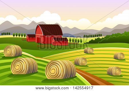 A vector illustration of farm scene with rolled hays
