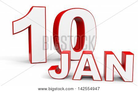 January 10. 3D Text On White Background.