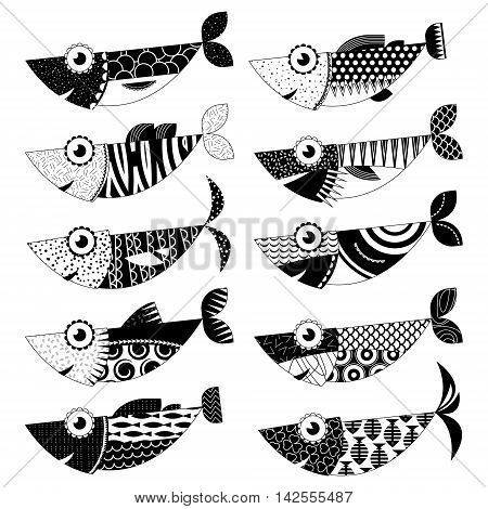 Set of 10 black and white decorated fishes. Sardines. Vector illustration