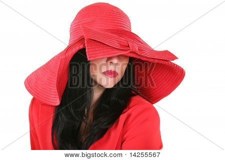 Beautiful Lady In Red Hat