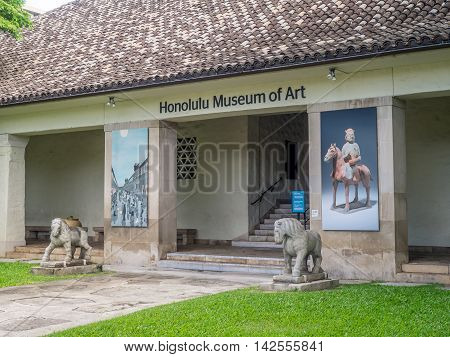 HONOLULU, HI - AUG 6: The Honolulu Museum of Art on August 6, 2016 in Honolulu, Hawaii. The museum has one of the largest single collections of Asian and Pan-Pacific art in the United States.