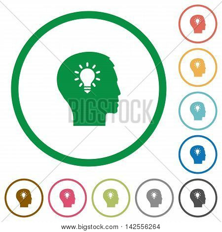 Set of idea color round outlined flat icons on white background