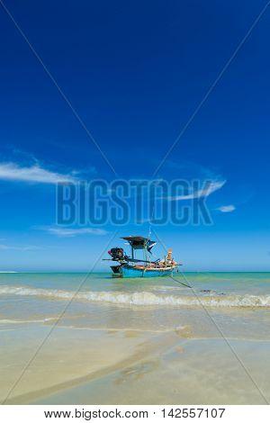 Thai longtail boat and beautiful beach