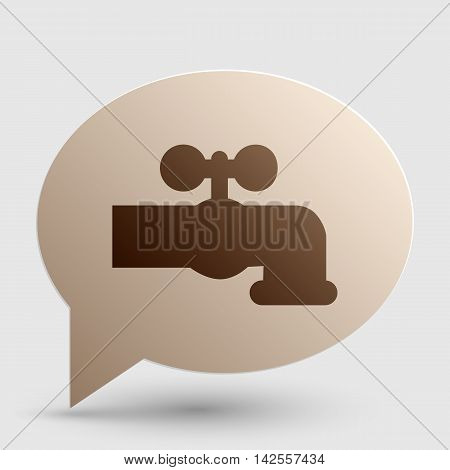 Water faucet sign illustration. Brown gradient icon on bubble with shadow.