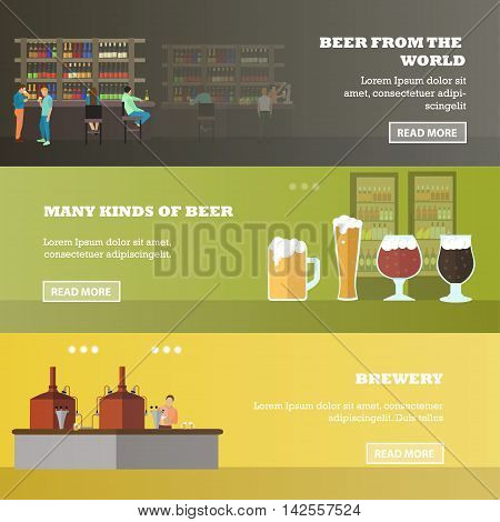 Vector set of brewery and beer restaurant concept banners. Visitors drink beer in a bar.
