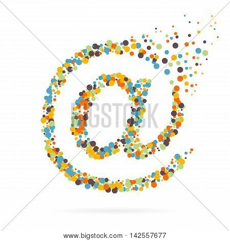 Abstract creative concept vector icon of e-mail for web and mobile app isolated on background. For art illustration template design, business infographic, social media, digital flat silhoette.