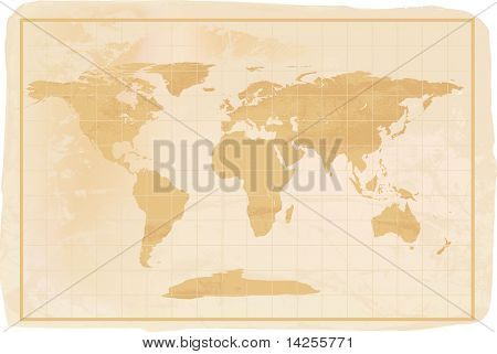 illustration of a yellow old vintage world map with creases and a little dirty