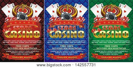 Template flyer for casinos in three colors, editable vector shape. Suitable for promote a web website or a casino, club casino