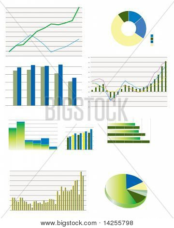 Pie charts, bar and line business graphs showing performance and sales