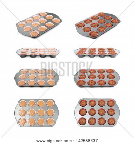 Metal muffin cupcake tray pan filled with dough, before and after cooking, composition isolated over the white background, set of four different foreshortenings