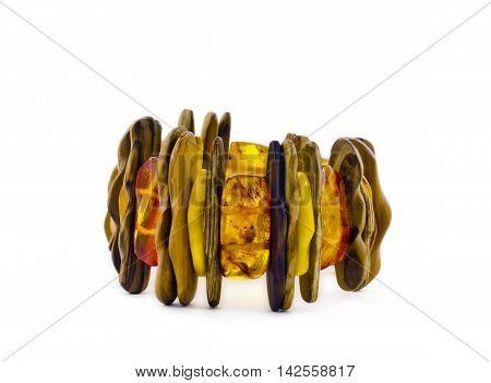 Bracelet of Baltic amber isolated on white background