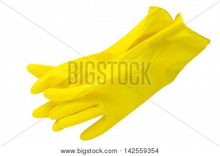 yellow rubber gloves on a white background