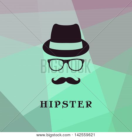 Vintage silhouette of bowler mustaches glasses. Vector illustration of gentleman. Logo template of gentleman Club.