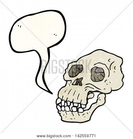 freehand speech bubble textured cartoon ancient skull