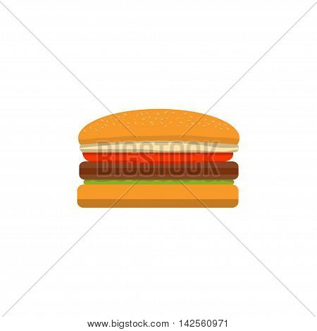 big tasty cheeseburger on a white background executed in flat style.