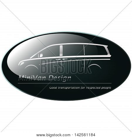Silver mini van on dark green background creative icon symbol. Collection concept vector pictogram for infographic project and logo.