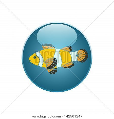 Parrot-fish icon on blue round background. Vector illustration.