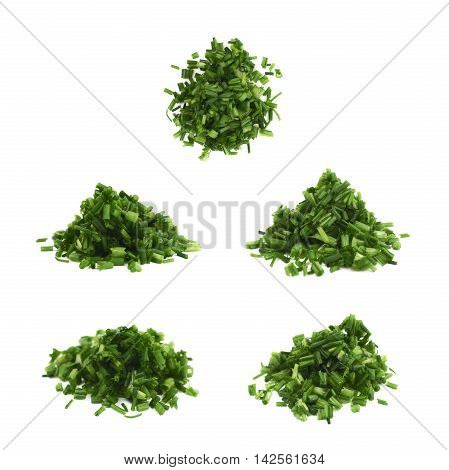 Pile of chopped green onion scallions isolated over the white background, set of five different foreshortenings