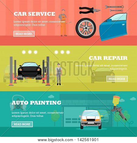 Car repair shop concept vector banners. Auto mechanic with car repair equipment and tools. Garage service.