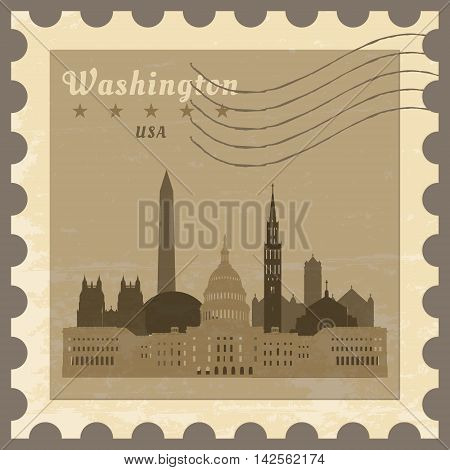 Grunge rubber post stamp with name of Washington District of Columbia vector illustration.
