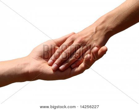 Hand in a hand on a background white