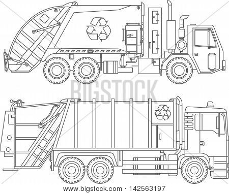 Detailed illustration of garbage trucks isolated on white background in a flat style.
