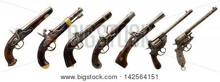 seven old guns collection over white background