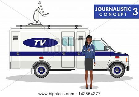 Detailed illustration of journalist and TV or news car in flat style on white background.