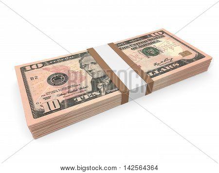 Pack Of Ten Dollars Bank Notes.