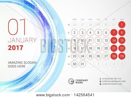 Desk Calendar For 2017 Year. January. Week Starts Monday. Vector Design Print Template With Abstract