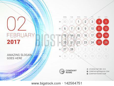 Desk Calendar For 2017 Year. February. Week Starts Monday. Vector Design Print Template With Abstrac