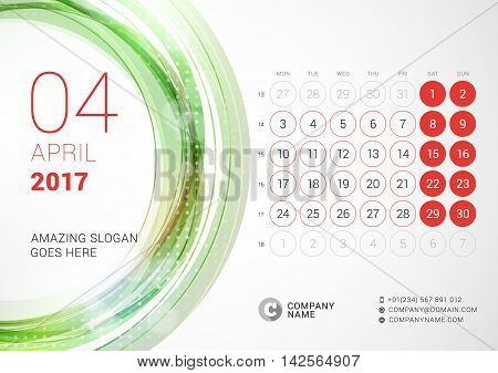 Desk Calendar For 2017 Year. April. Week Starts Monday. Vector Design Print Template With Abstract C