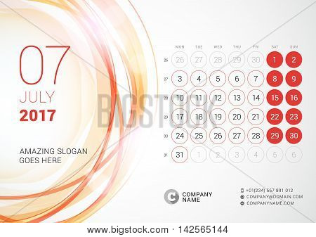 Desk Calendar For 2017 Year. July. Week Starts Monday. Vector Design Print Template With Abstract Ci