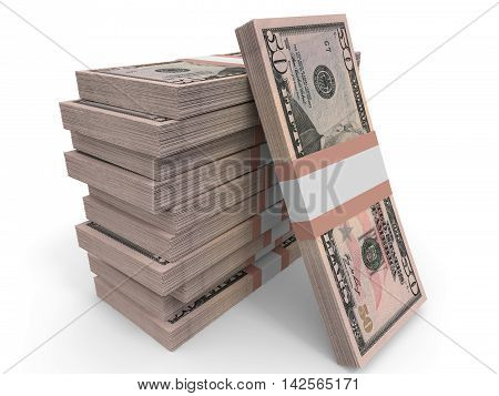 Fifty dollar banknotes on white background. 3D illustration.