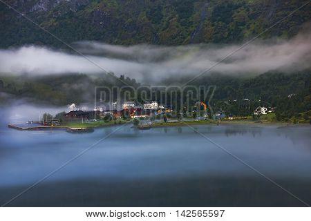 Scandinavian Mountains And Norwegian Village In Flam