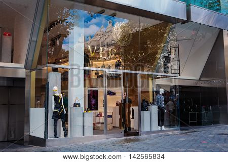 Barcelona Spain - October 27 2015: Versace shop in Barcelona Spain. Versace is a world famous fashion brand. Versace is an Italian fashion company and trade name founded by Gianni Versace in 1978.