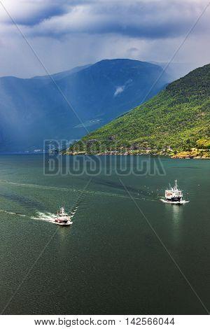Fantastic Scenery Of Scandinavian Mountains And Norwegian Fjord, Flam