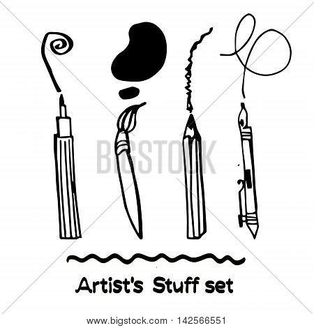 Set of Hand Drawn Artist's Stuff. Grafic tools
