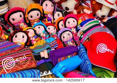 Lima, Peru - January 31: Display Of Traditional Souvenirs At The Market On January 31,2015 In Lima,