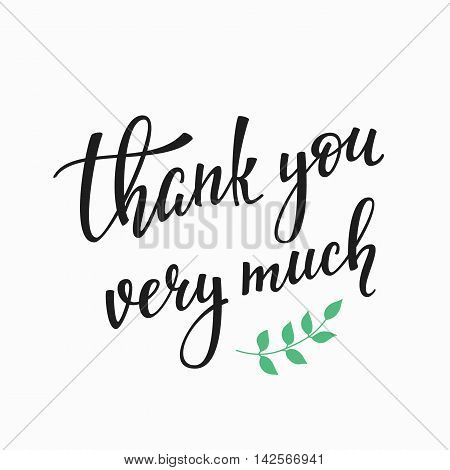 Thank you Friendship Family Positive quote thanksgiving lettering. Calligraphy postcard or poster graphic design typography element. Hand written vector postcard. Thank you very much