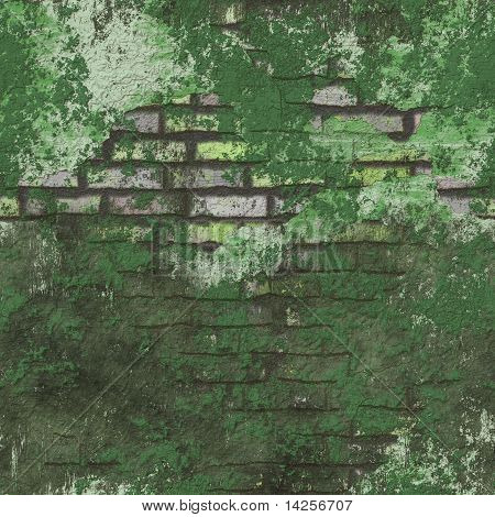 Green Grunge Seamless Background Brick Wall