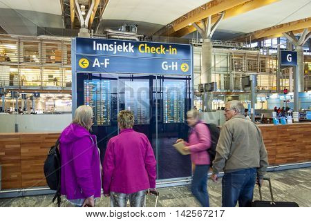 OSLO GARDERMOEN NORWAY - NOVEMBER 2:Interior of Oslo Gardermoen International Airport on november 2 2014 in Oslo. The airport has biggest passenger flow in Norway.