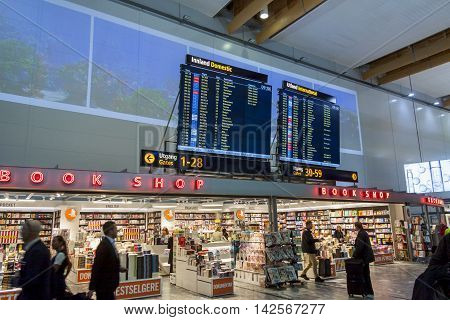 OSLO GARDERMOEN NORWAY - NOVEMBER 3:Duty Free Shop at Oslo Gardermoen International Airport on november 3 2014 in Oslo. The airport has biggest passenger flow in Norway.