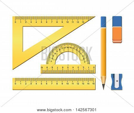 School accessories. Measuring tool for geometry. Plastic ruler square protractor eraser pencil. Vector illustration on white background.
