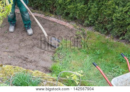 Gardening remove of the old grass sward