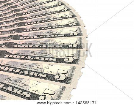 Money fan on white background. Five dollars. 3D illustration.