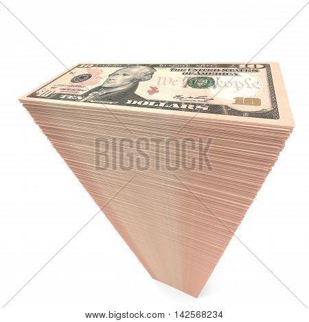 Stack Of Banknotes. Ten Dollars.