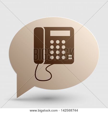 Communication or phone sign. Brown gradient icon on bubble with shadow.