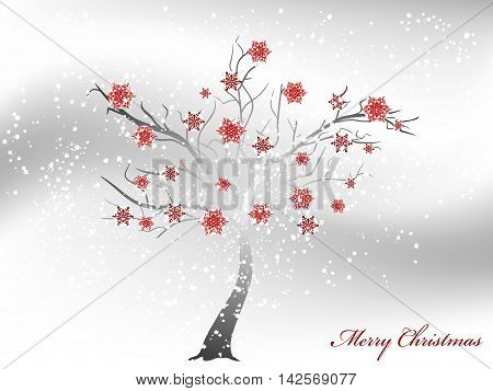 Abstract snowy Christmas tree wirh red snowflakes